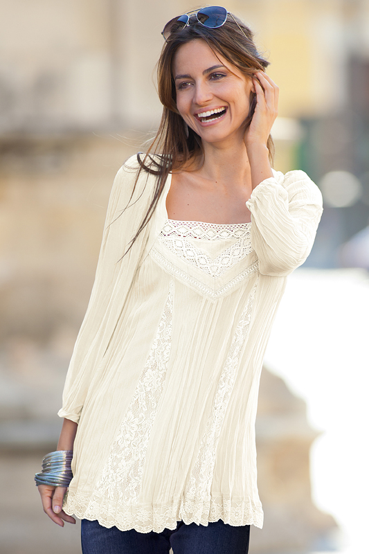 Together Lace Trim Georgette Tunic
