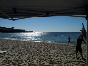 Setting up on Coogee Beach