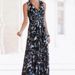 Together Printed Maxi Dress in Midnight Blue