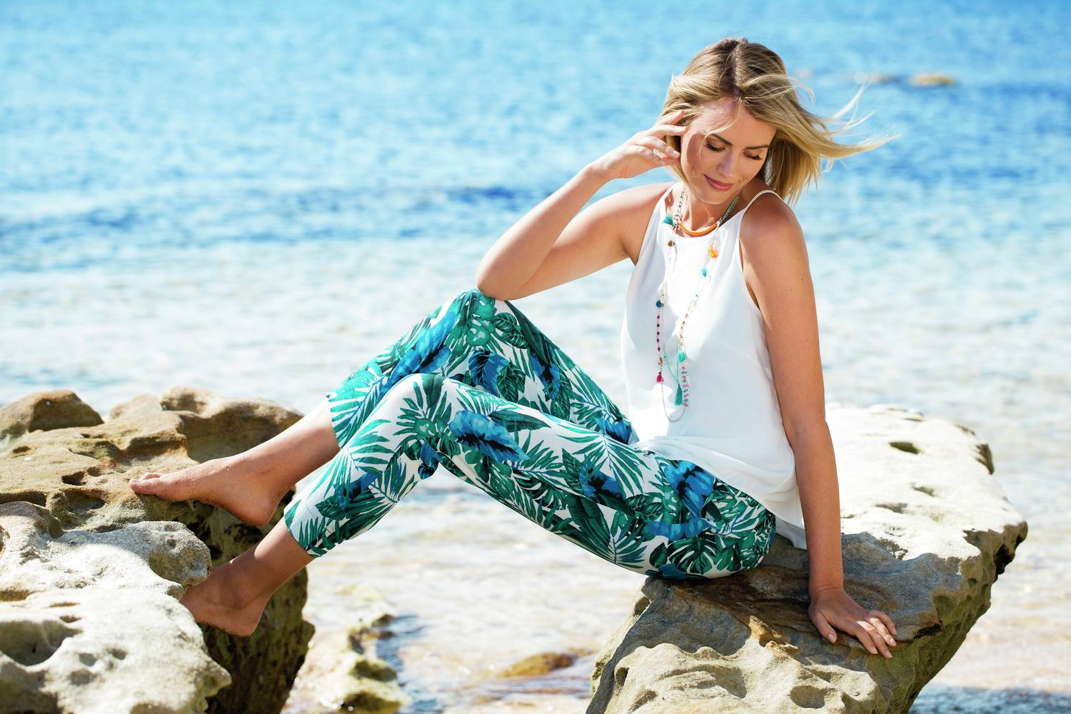 Palm Print Pant for Summer