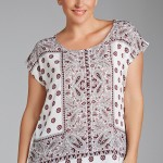 Sara Shell Top in ivory print (149747)