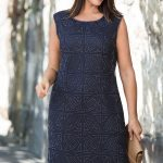 Plus size wedding outfit: 'Cool' colours are crisper usually suit people with blue eyes and fairer complexions. Grace Hill Woman Beaded Shift Dress
