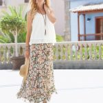 Floaty Skirt with pair with cream top and long necklace. Styles 153555 and 153592