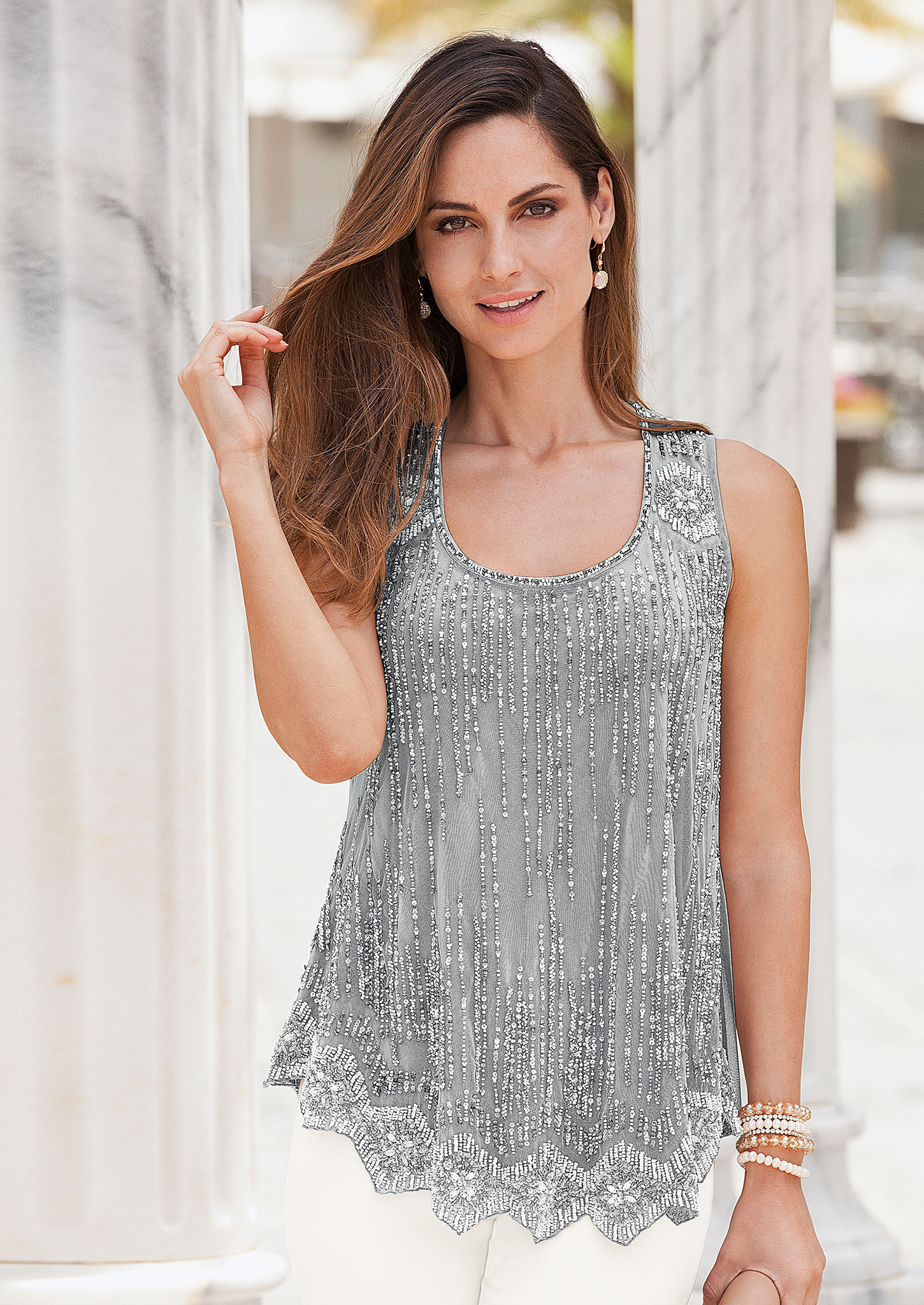Wedding Guest Inspo: Together Sequinned Swing Top