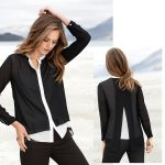 Layer your look this winter with the chic stylings of Emerge's Layered Shirt in black/ivory.