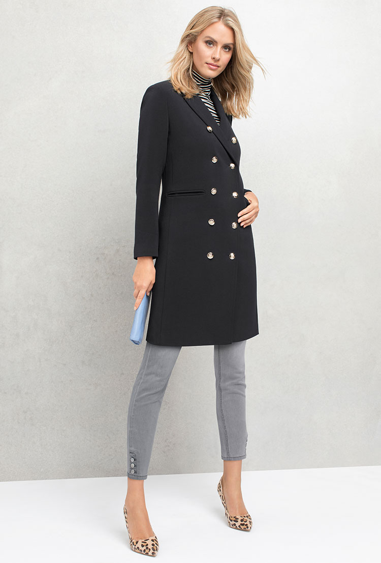 Pair a military coat with heels. Shop jacket, top, jeans and heels.