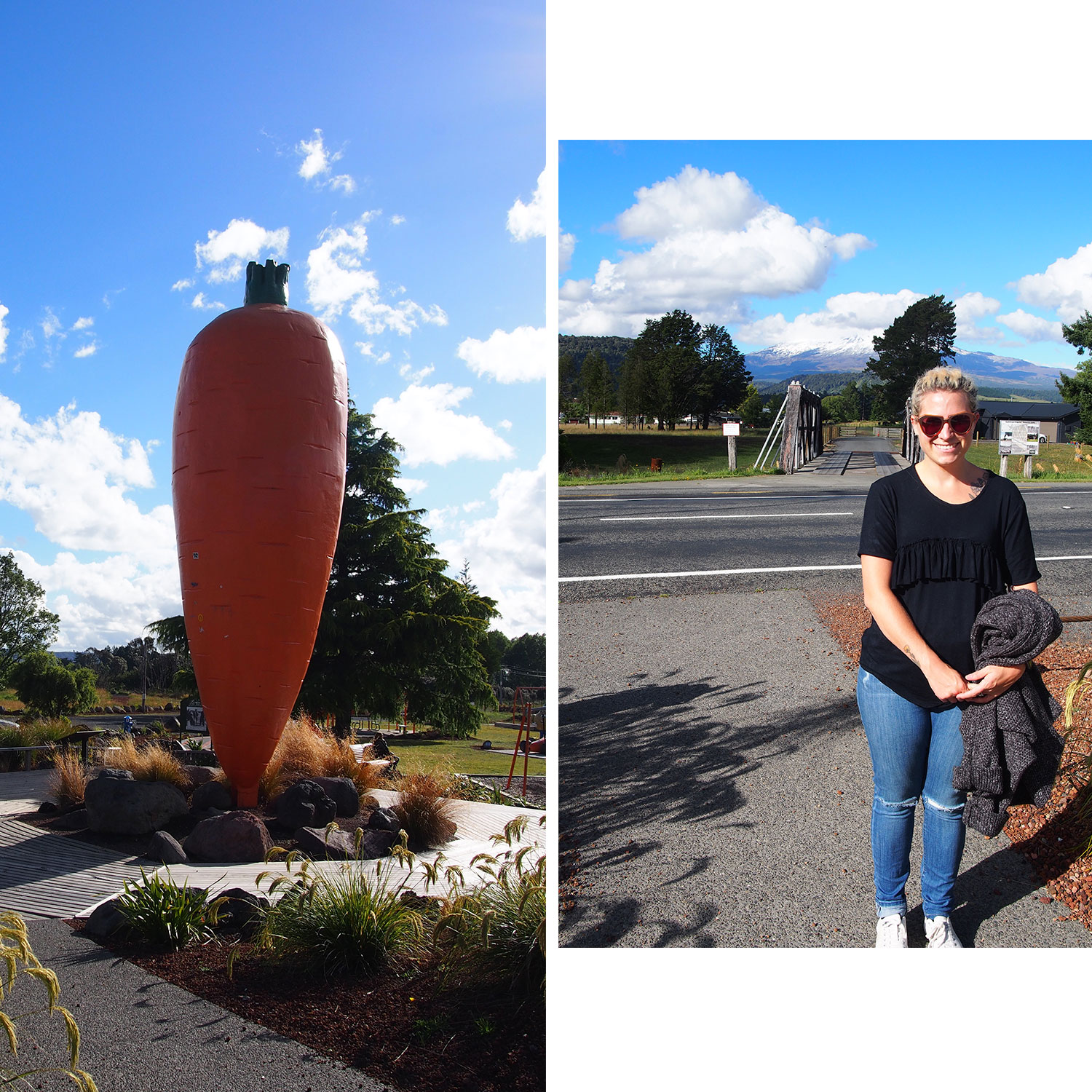 Visiting the infamous carrot in Ohakune! Yes, those are ripped jeans...