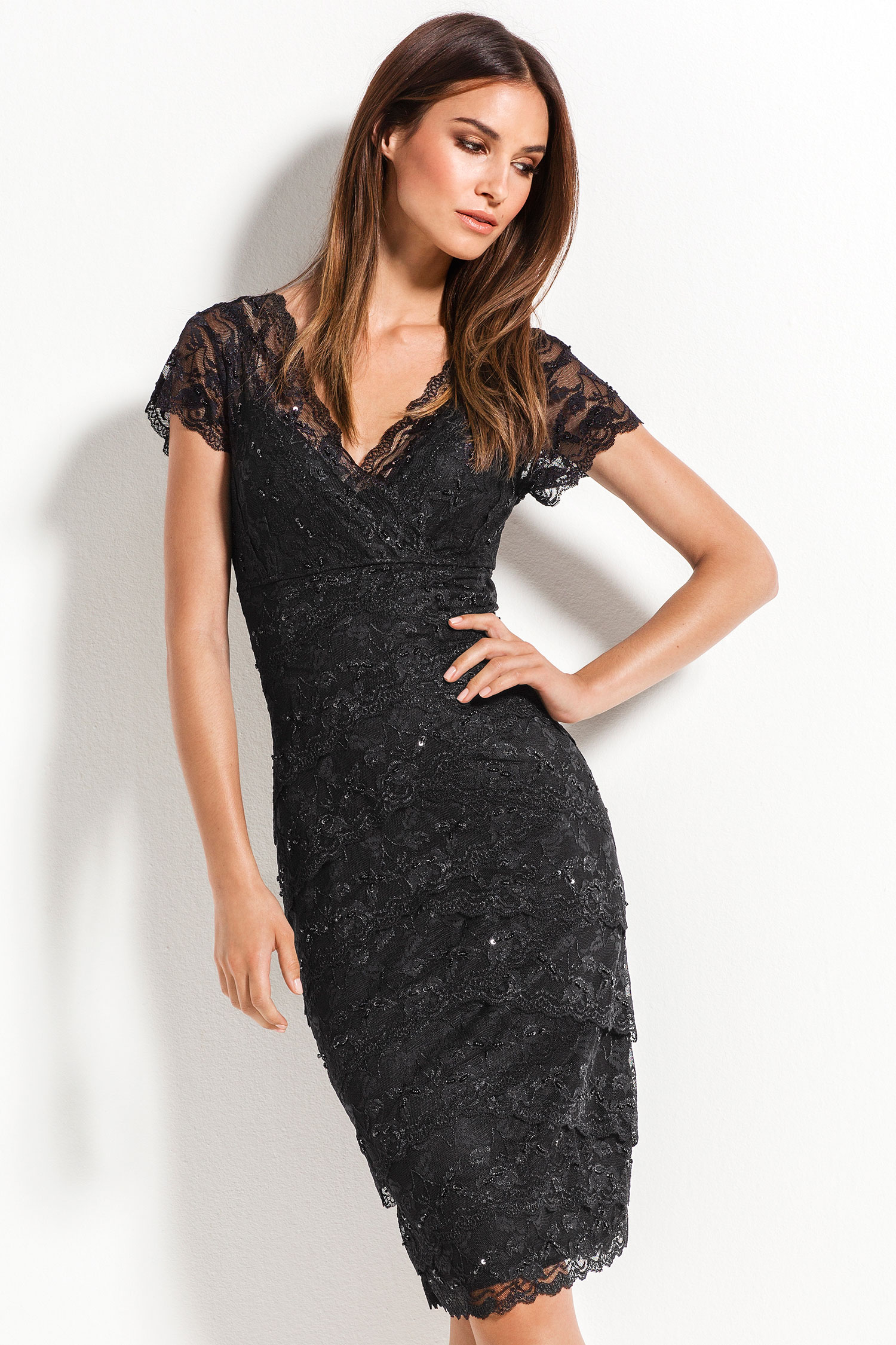 Make a good in impression in the Grace Hill Lace Layered Dress