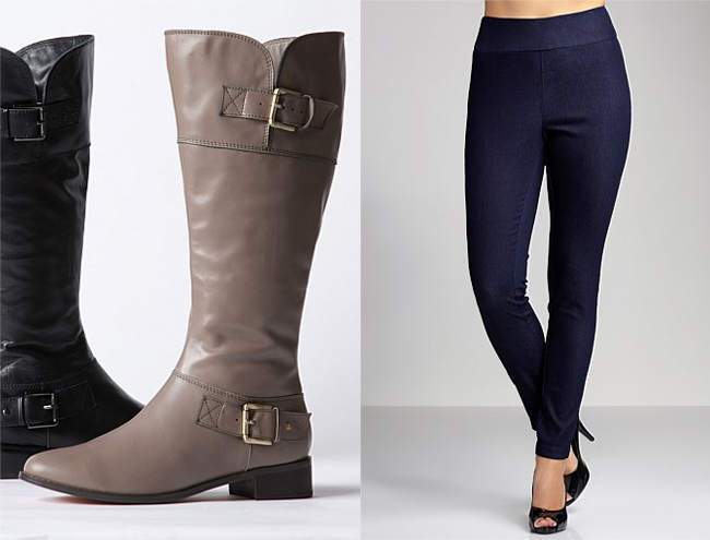 Left: Sara Buckle Riding Boots; Right: Sara Pull-on Jeggings