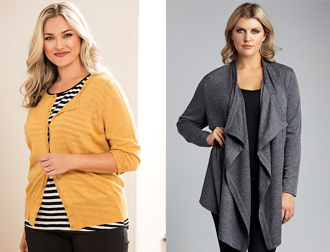 Left: Sara Button Through Cardigan; Right: Sara Waterfall Cardigan