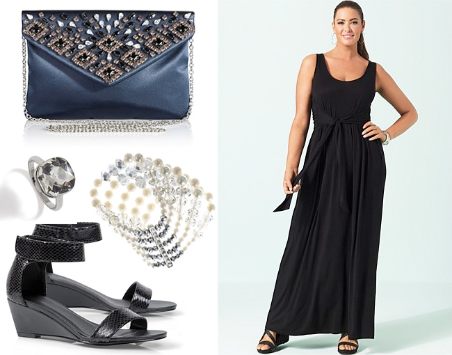 Sara Maxi Dress Tie Back; Next Jewel Envelope Clutch Bag; Gloria Bracelet; Strap Wedge; Next Square Crystal Effect Ring