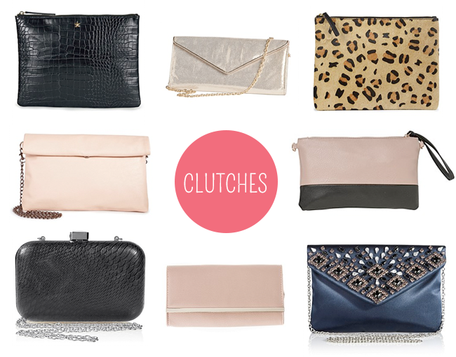 Clockwise from top left: Next Zip Top Clutch Bag; Grace Hill Metallic Clutch Bag; Next Leather Leopard Print Clutch Bag; Accessories Colour Block Clutch; Next Jewel Envelope Clutch Bag; Clutch; Next Boxy Clutch Bag; Next Slouchy Clutch Bag