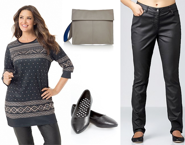 Tunic | Clutch | Ballet Flats | Coated Jeans