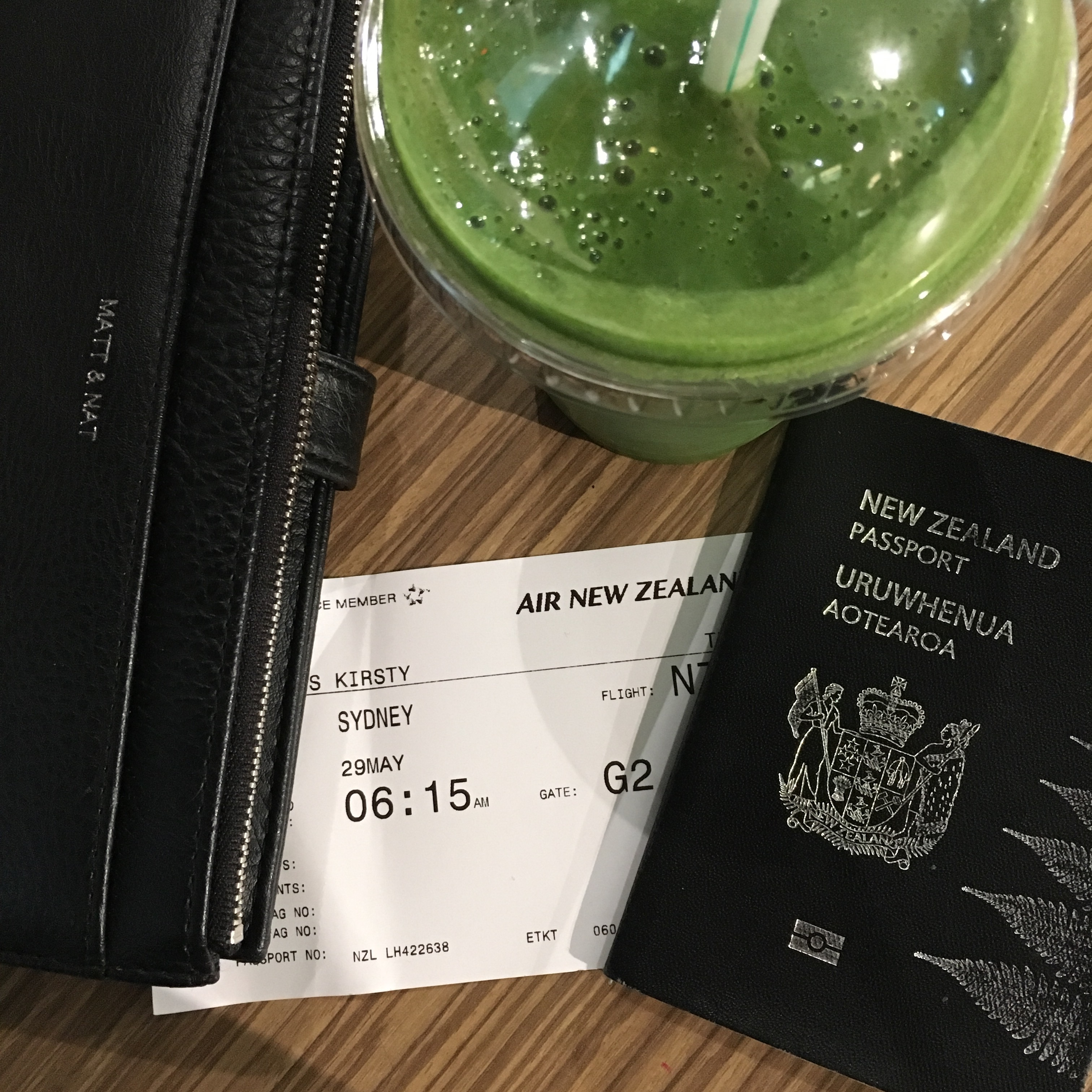 Obligatory photo of my passport, tickets and smoothie