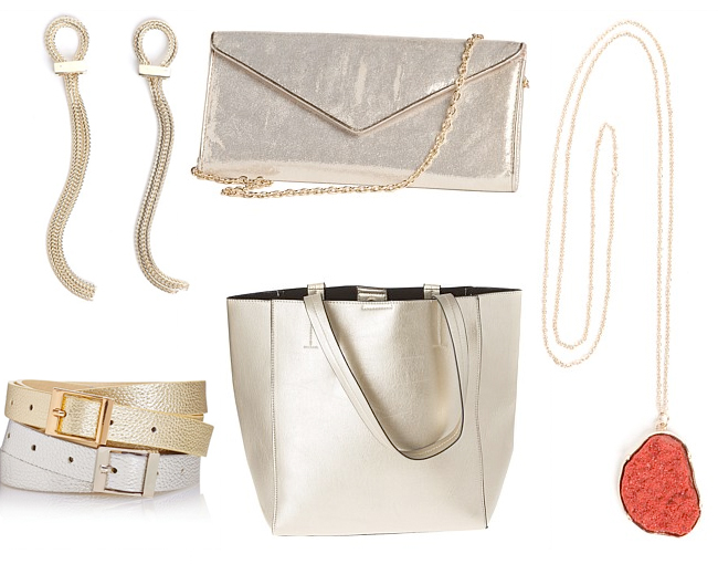 Nautical Knot Earrings | Grace Hill Metallic Clutch Bag | Aria Earth Pendant Necklace | Shopper Bag | Next Gold And Silver Belts