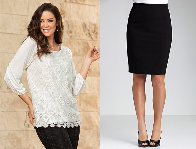 Left: Sara Lace Front Top; Right: Sara Pull-On Straight Skirt