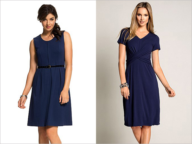 Left: Emerge Ponti Belted Dress; Right: Capture Short Sleeved Dress