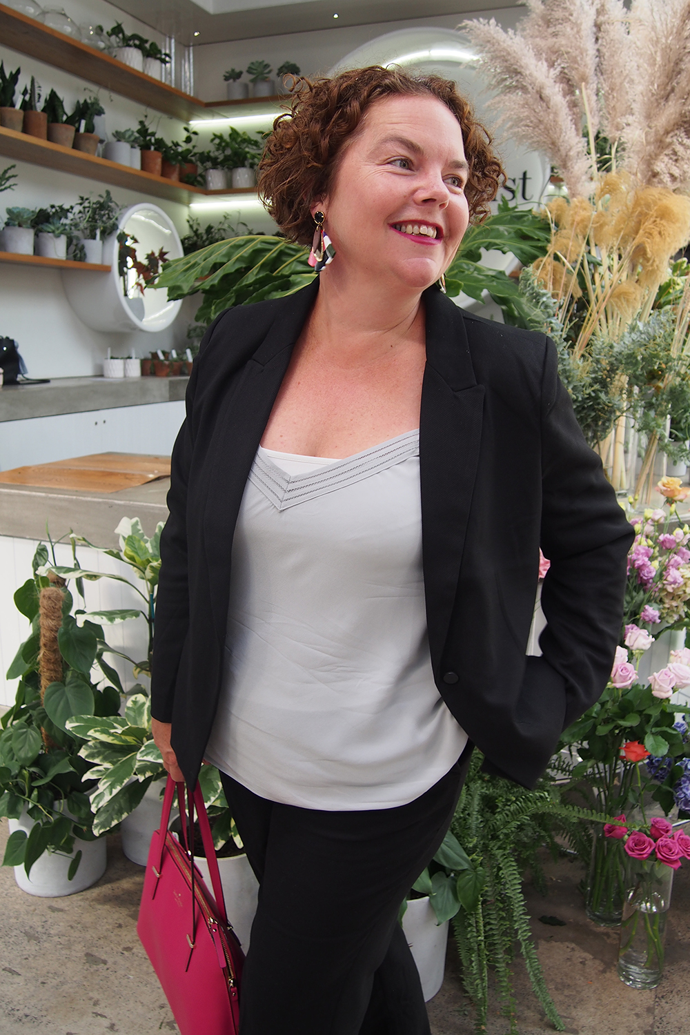 Dress like you are the boss! Emma wears the Grace Hill Workwear Blazer, Grace Hill Silk Cami and Slouch Pants