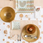 Golden Touch: Impress your guests with this eye catching tableware and glimmering serving platters.
