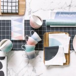 Tableware Pastel picks: Pastels mixed with graphic pattern and texture brings a modern colour scheme to your table.