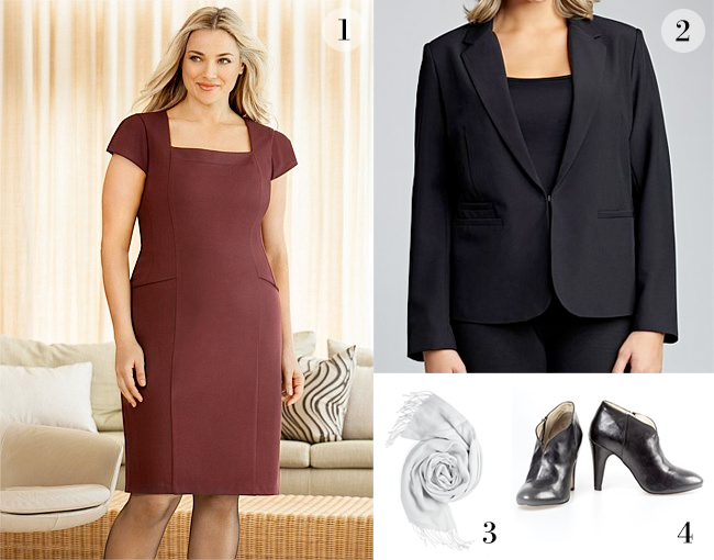 1. Sara Ponti Peplum Dress; 2. Sara Lined Blazer; 3. Wrap; 4. Eliza Shoe Boot