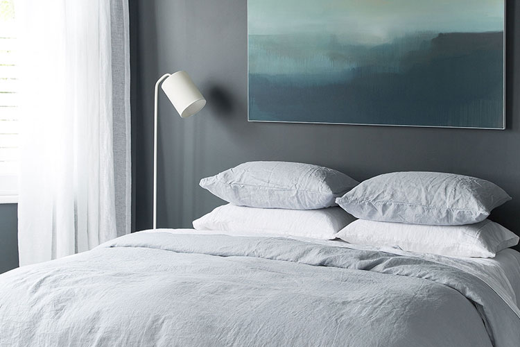 Grey Linen paired with beautiful artwork