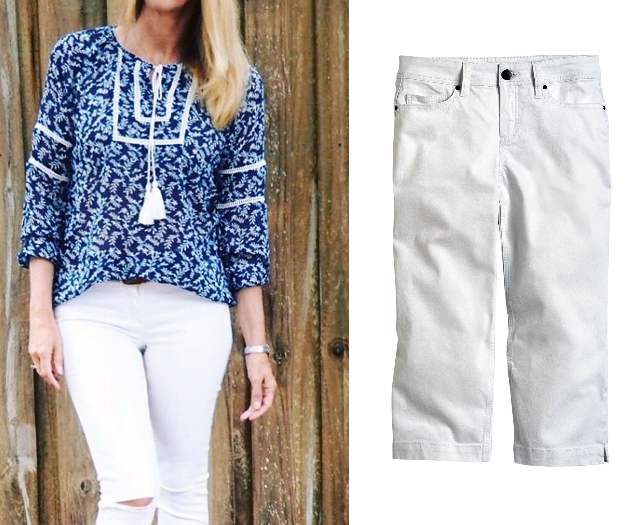 Pair the boho kaftan with a white denim pant