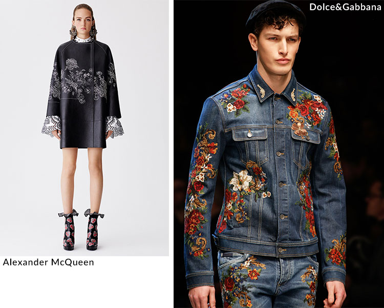 Embroidery in high fashion: Alexander McQueen and Dolce&Gabbana
