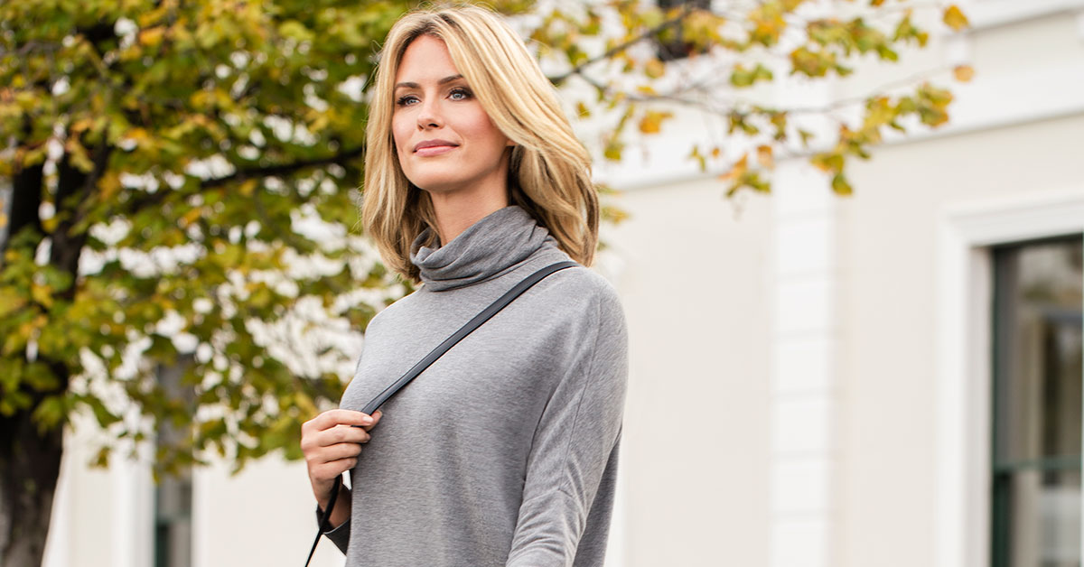 Combining two great versatile pieces - the Tunic and the Roll-Neck!