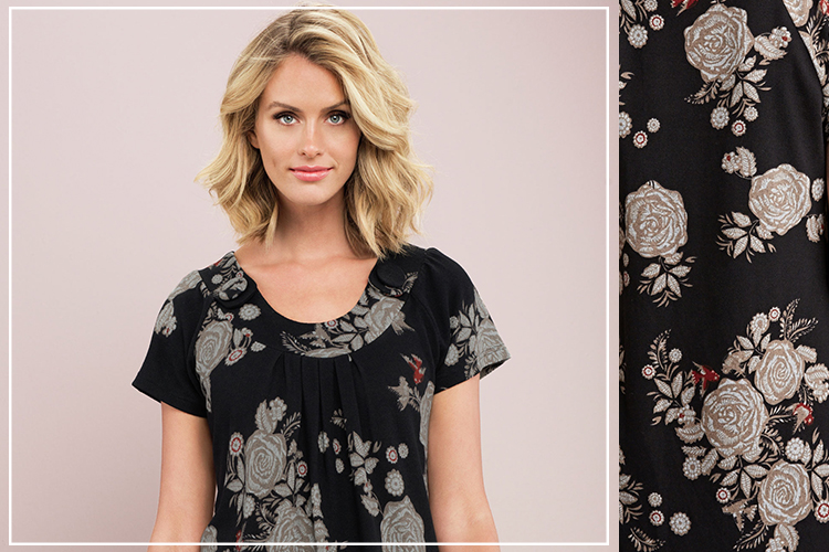 The Floral Tunic: featuring a scoop neck with button detail, centre front pleating and short sleeves