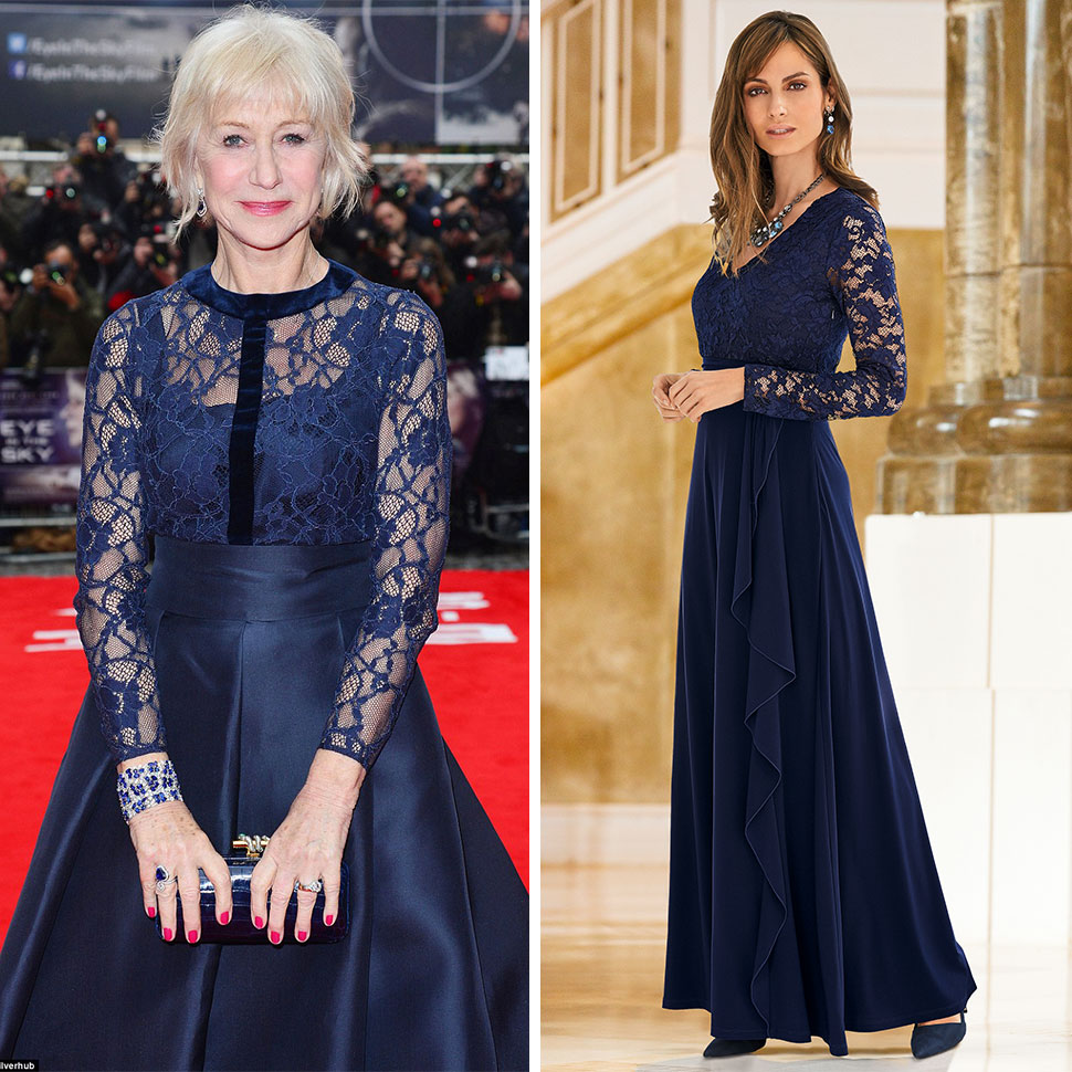 Helen Mirren at the London premier of Eye In The Sky & Together Maxi Lace Bodice Dress