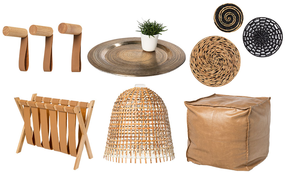 The Naturalist: Warm timber tones and woven finishes. Shop: pegs, tray, wall art, magazine holder, lamp shade, pouf.