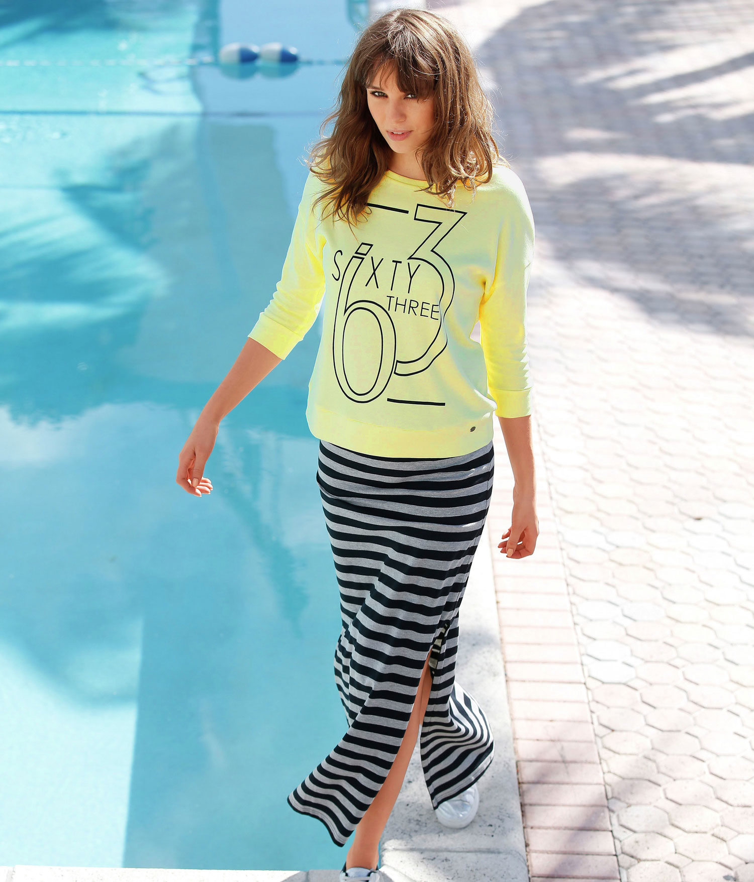 Summer style! Stripe Skirt and Yellow Printed Top