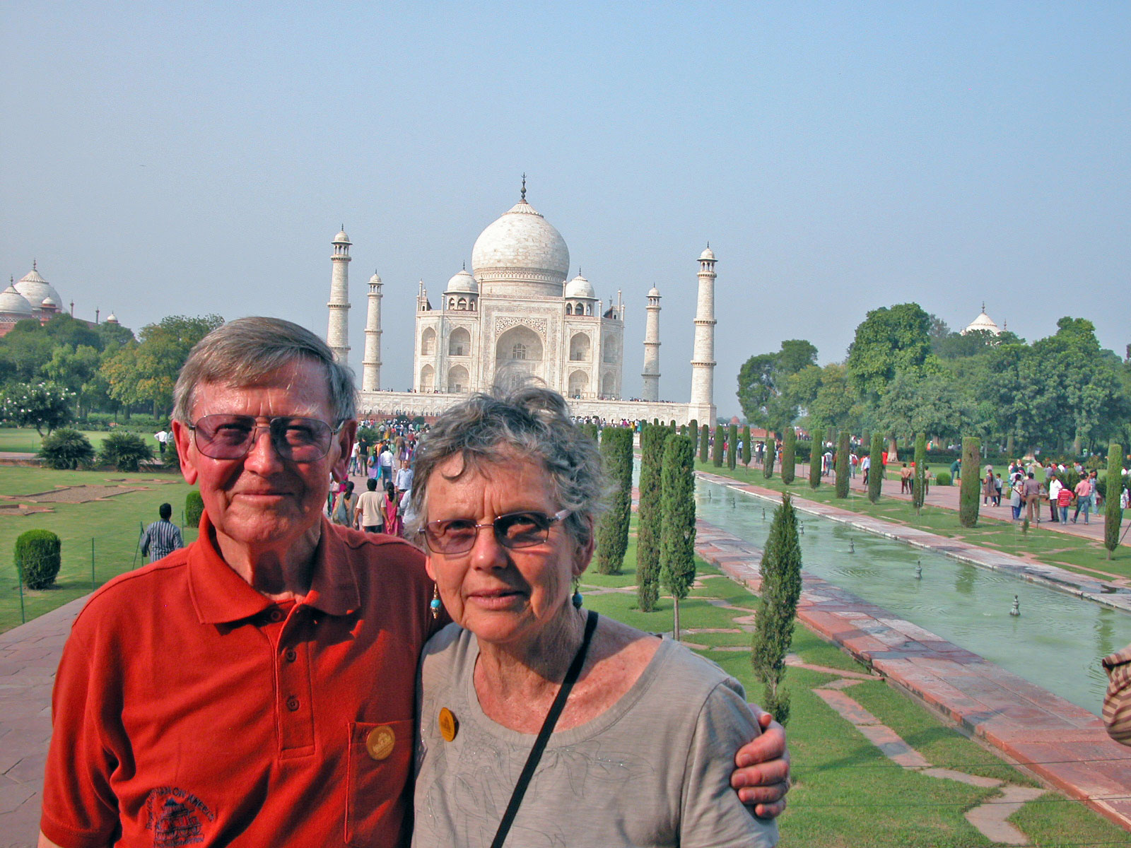 Sylvia at the Taj Mahal with her husband