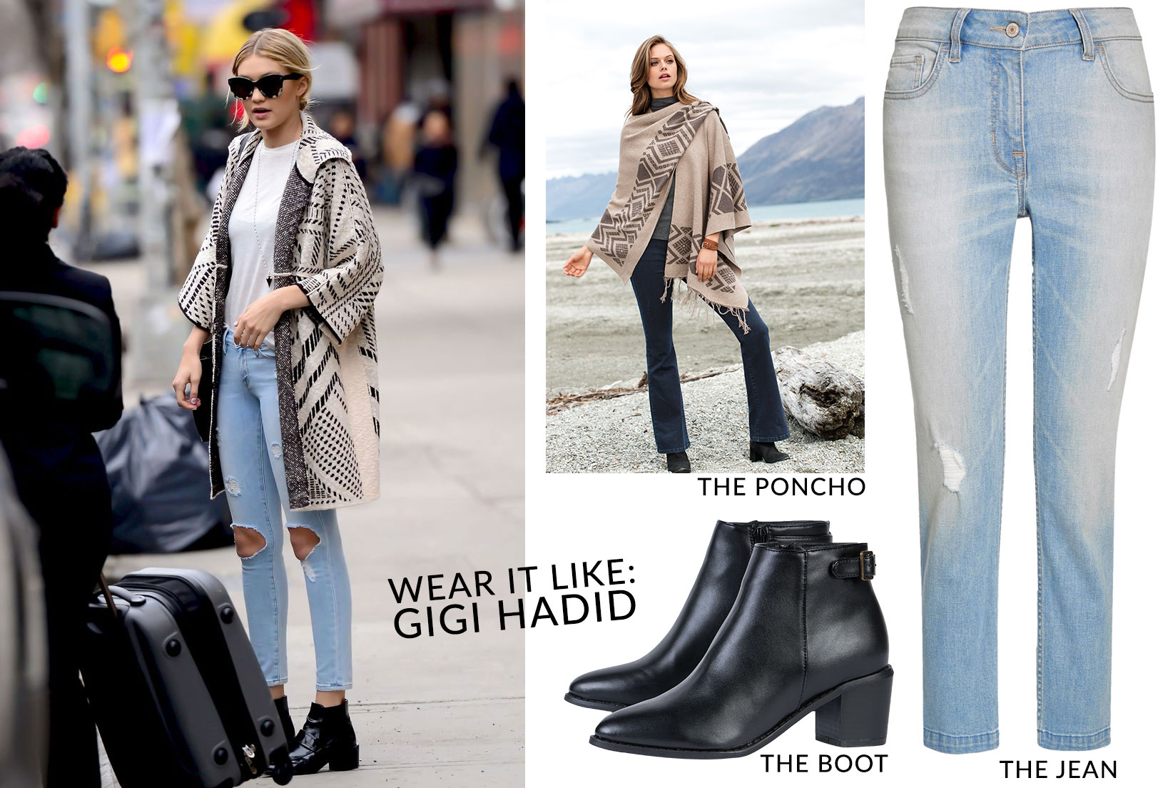 Love the look? Shop the Poncho, the Boot, and the Jeans
